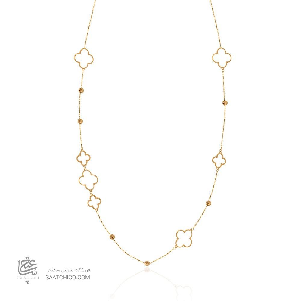 گردنبند رولباسی طلا با گلهای چهارپر و گویهای طلا کد xn634