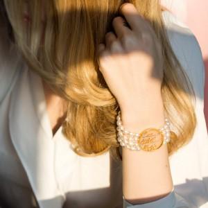 دستبند طلا طرح شعر با مروارید کد XB803