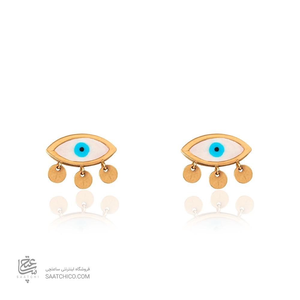 گوشواره میخی طلا طرح چشم کد CE369
