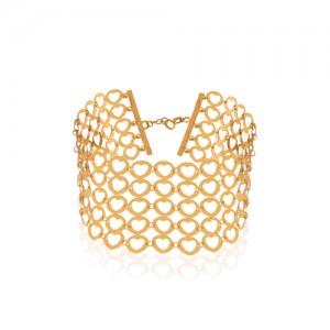 دستبند پهن طلا طرح قلب کد LB110