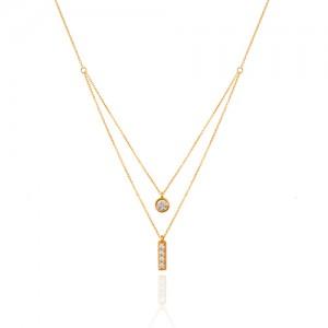 گردنبند طلا دولایه نگیندار کد CN421