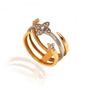 انگشتر  سه لایه طلا کد CR464