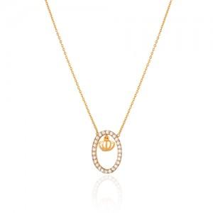 گردنبند طلا زنانه طرح تاج با نگین کد CN418
