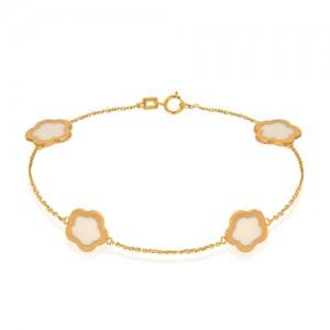 دستبند طلا زنانه طرح چهار گل کد CB386