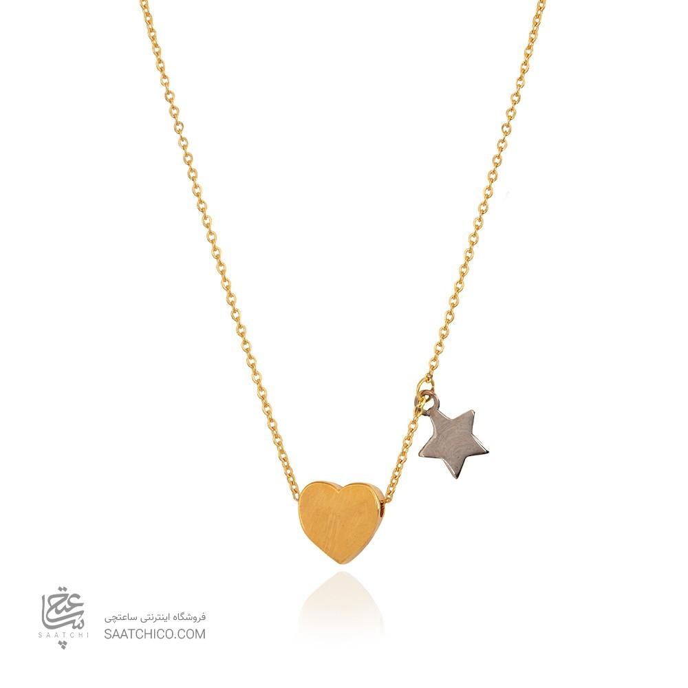 گردنبند طلا زنانه طرح قلب با ستاره کد cn423