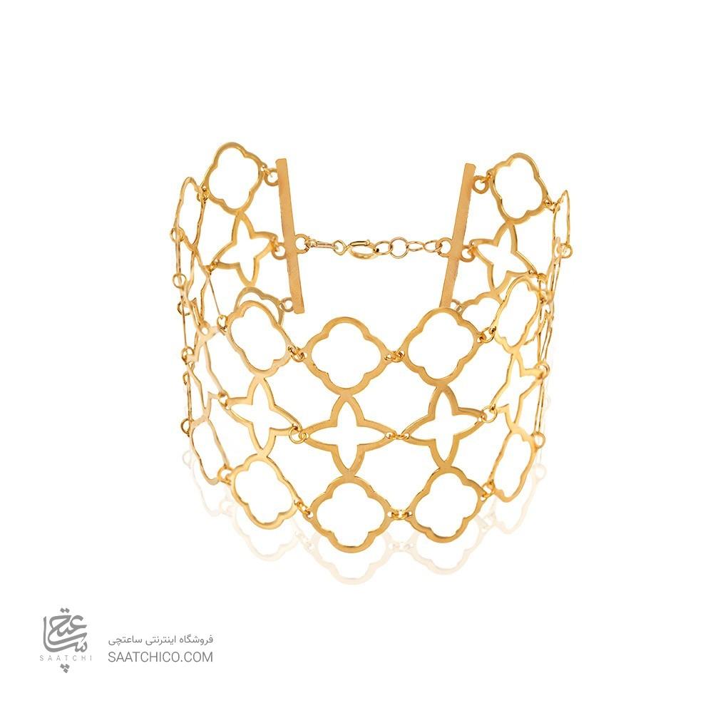 دستبندپهن طلا طرح لویی ویتون کد LB111