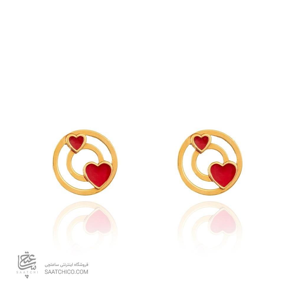گوشواره طلا طرح دایره با قلب قرمز کد LE631