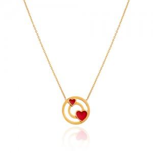 گردنبند طلا طرح دایره با قلب قرمز کد LN860