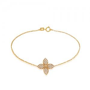 دستبند طلا طرح گل چهار پر کد CB391