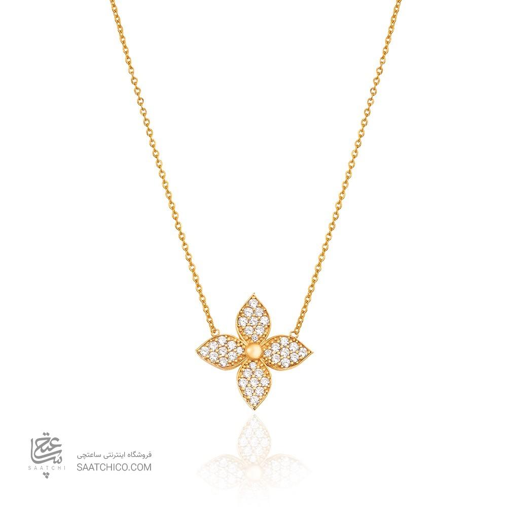گردنبند طلا زنانه گل چهار پر نگیندار کد CN417