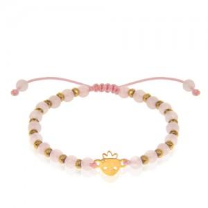 دستبند طلا کودک طرح توت فرنگی با سنگ کد KB370