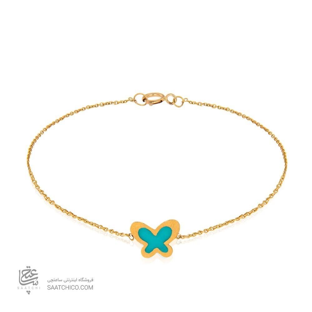 دستبند طلا طرح پروانه مینا کاری کد CB394