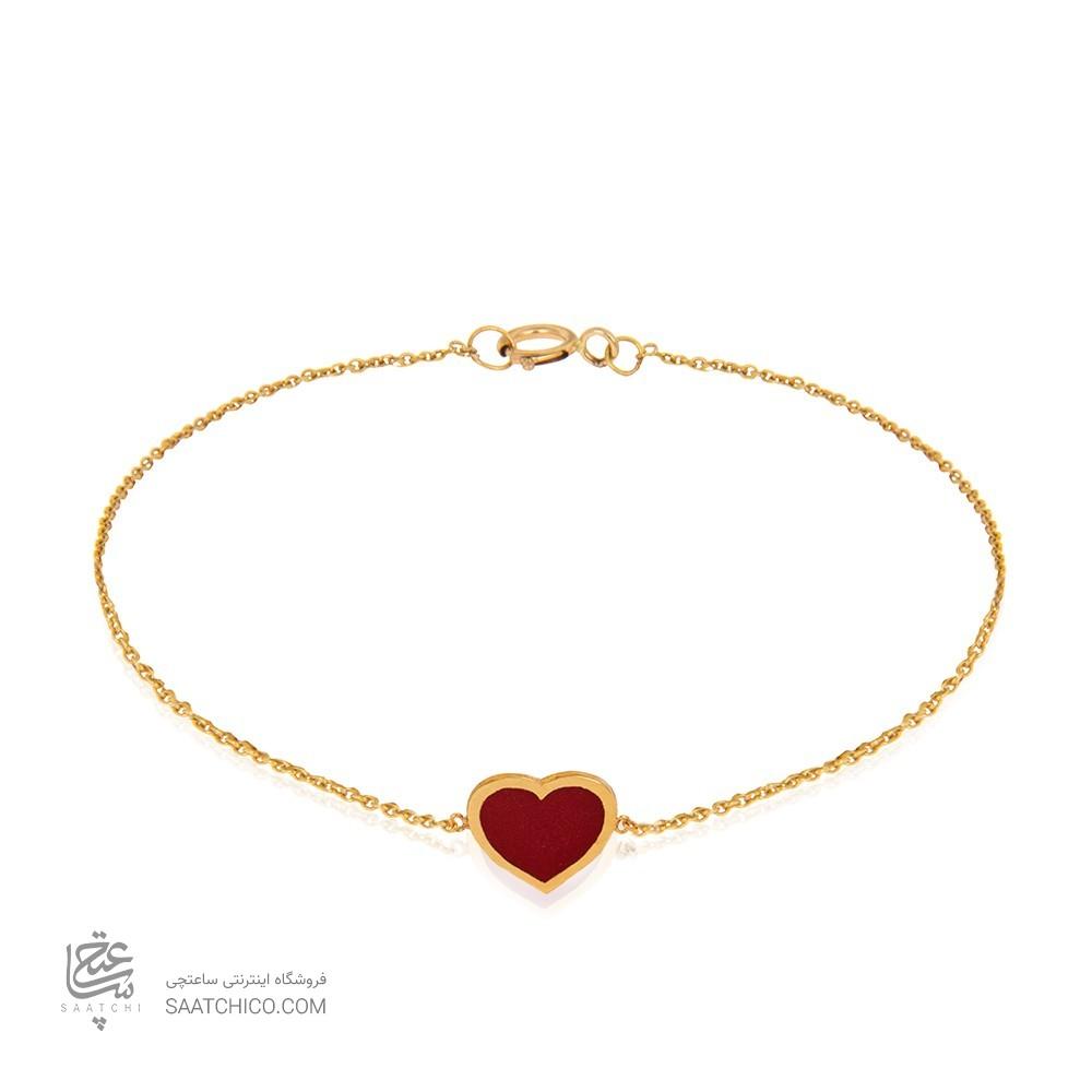 دستبند طلا طرح قلب میناکاری کد cb395