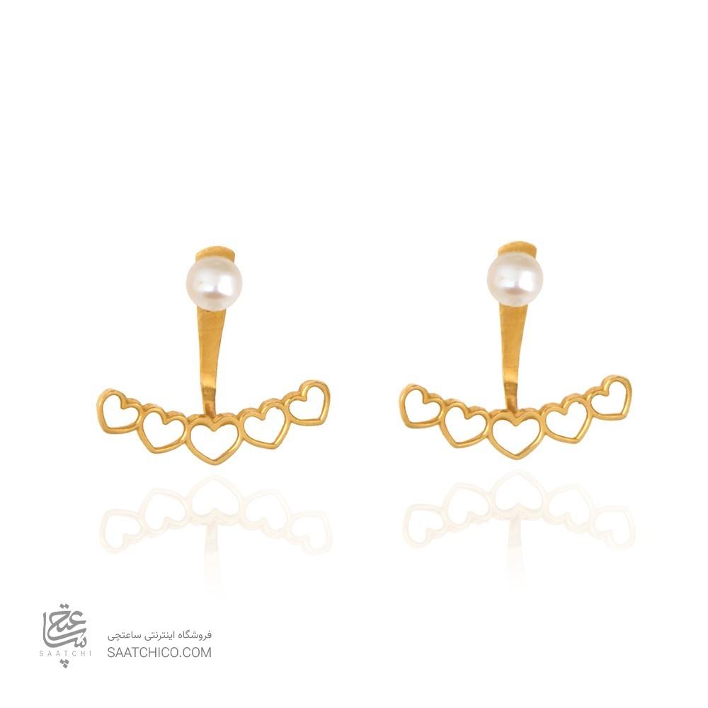 گوشواره دو طرفه طلا طرح قلب با مروارید کد XE250
