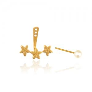 گوشواره دوطرفه طلا طرح گل با مروارید کد XE251