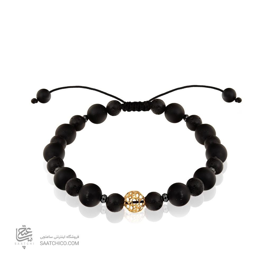 دستبند طلا مردانه با سنگ اونیکس کد MB128
