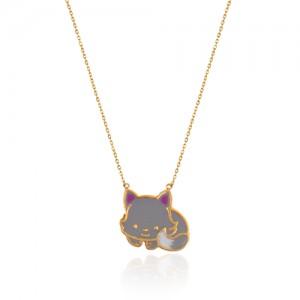 گردنبند طلای کودک طرح گربه کد KN711