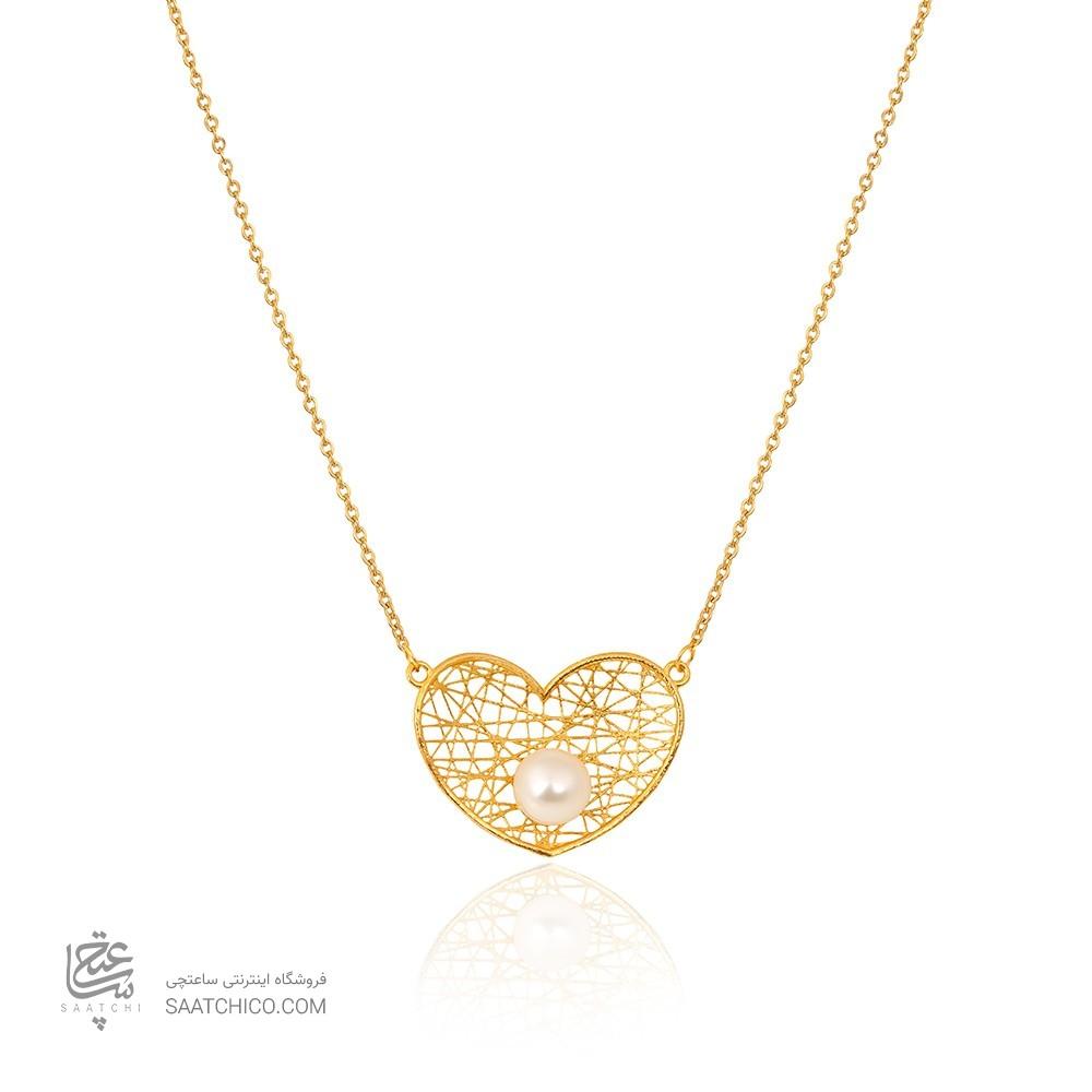 گردنبند طلا  قلب فیوژن با مروارید کد XN399