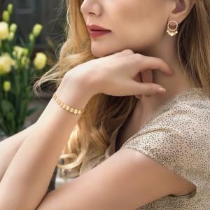 دستبند طلا طرح پولکی کد lb115