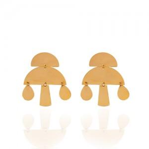 گوشواره میخی طلا طرح هندسی کد LE632