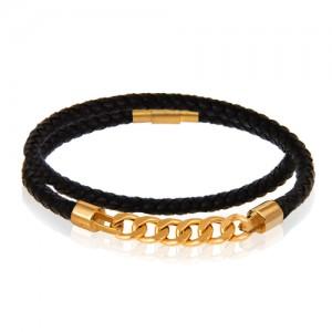 دستبند چرم و طلا مردانه کد MB130