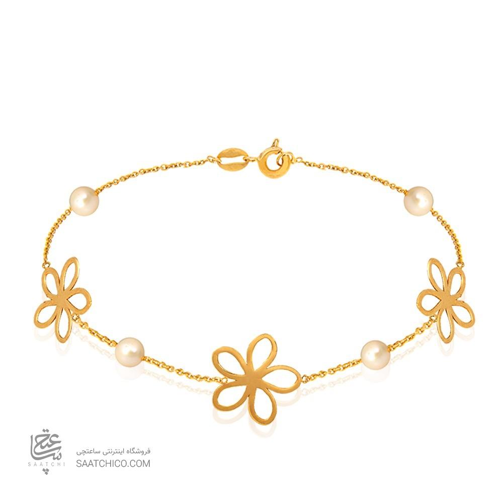 دستبند طلا زنانه طرح گل با مروارید کد XB844