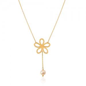 گردنبند طلا زنانه طرح گل با مروارید کد XN400