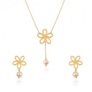 نیم ست طلا زنانه طرح گل با مروارید کد XS226