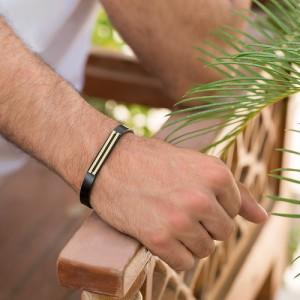 دستبند چرم و طلا مردانه کد MB132