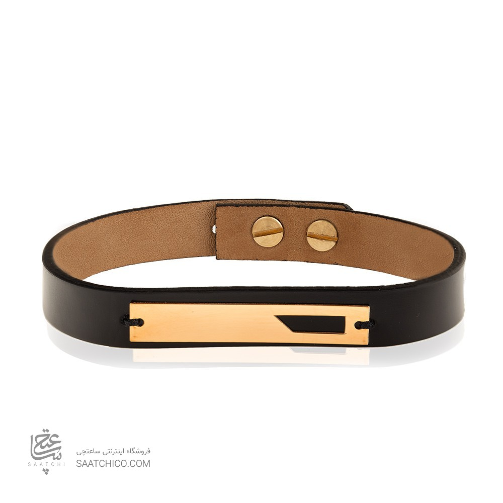 دستبند چرم و طلا مردانه کد MB133
