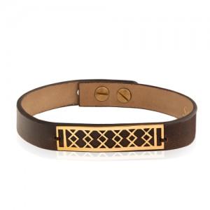 دستبند چرم و طلا مردانه کد MB134