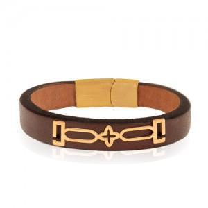 دستبند چرم و طلا مردانه کد MB135