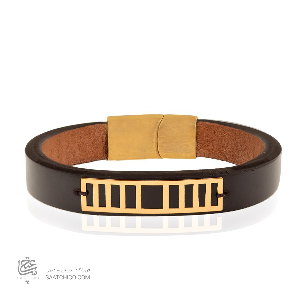 دستبند چرم و طلا مردانه کد MB136