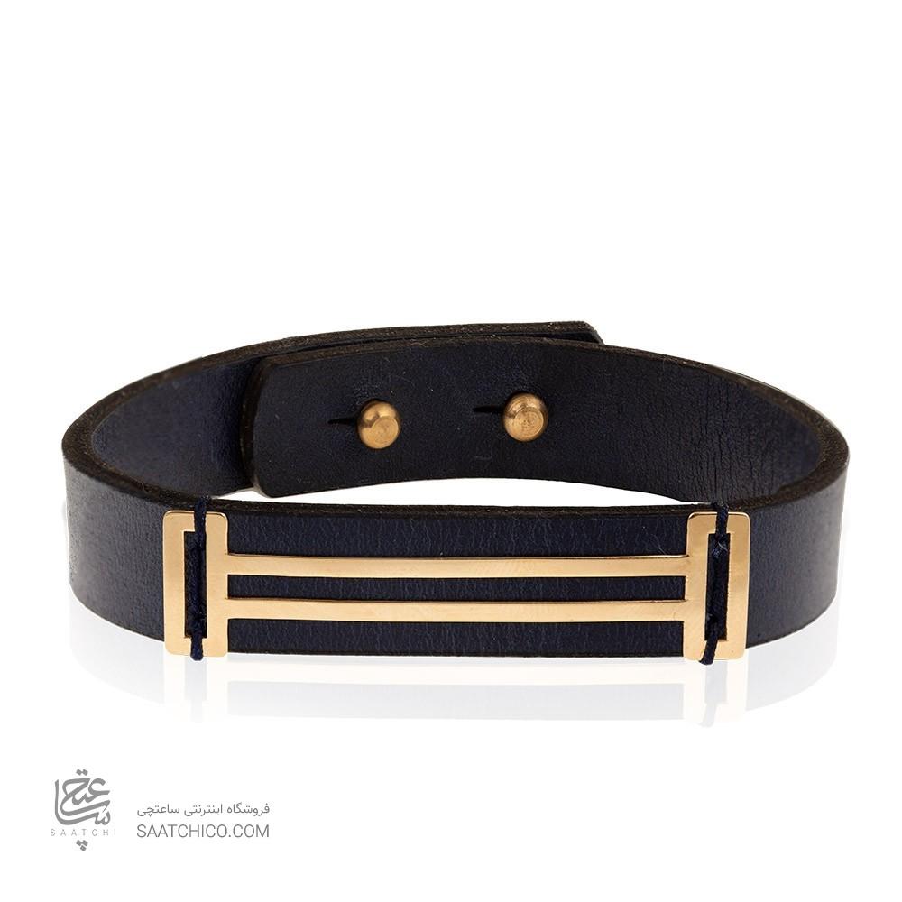 دستبند چرم و طلا مردانه کد MB137