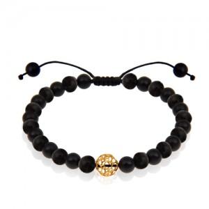 دستبند طلا مردانه با سنگ اونیکس کد MB138