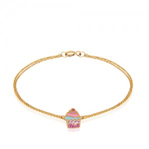 دستبند طلای کودک طرح کاپ کیک کد KB374