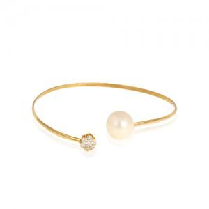 دستبند النگویی طلا با مروارید و فلاور کد Xb700
