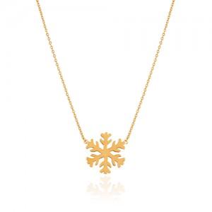گردنبند طلا زنانه طرح برف کد CN438
