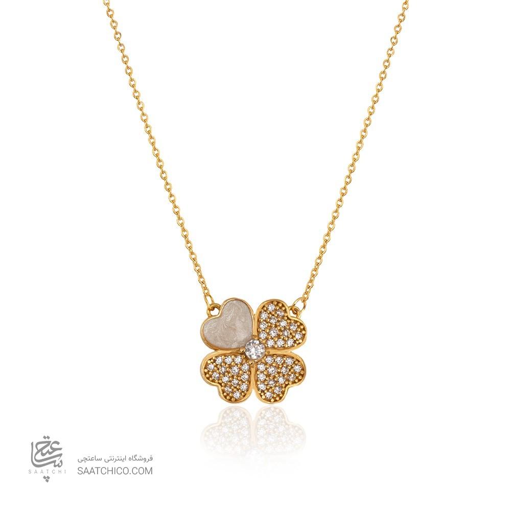 گردنبند طلا زنانه طرح گل چهارپر ونکلیف کد CN435