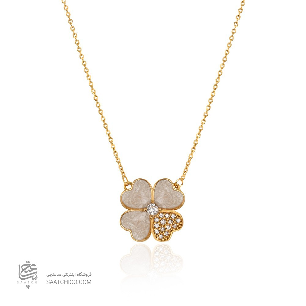 گردنبند طلا زنانه طرح گل چهارپر ونکلیف کد CN436
