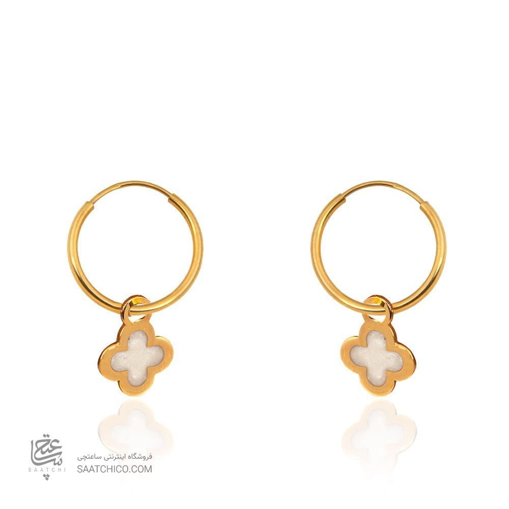 گوشواره طلا زنانه طرح چهارپر میناکاری کد CE384