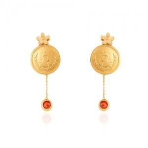 گوشواره طلا زنانه طرح سکه قاجاری کد CE383