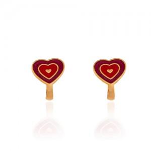 گوشواره طلا کودک طرح قلب میناکاری کد KE106