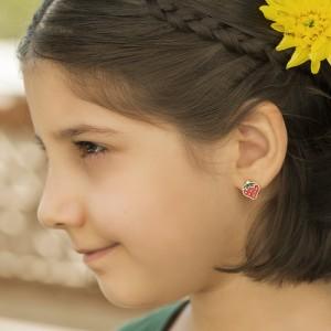 گوشواره طلا کودک طرح توت فرنگی میناکاری کد KE107