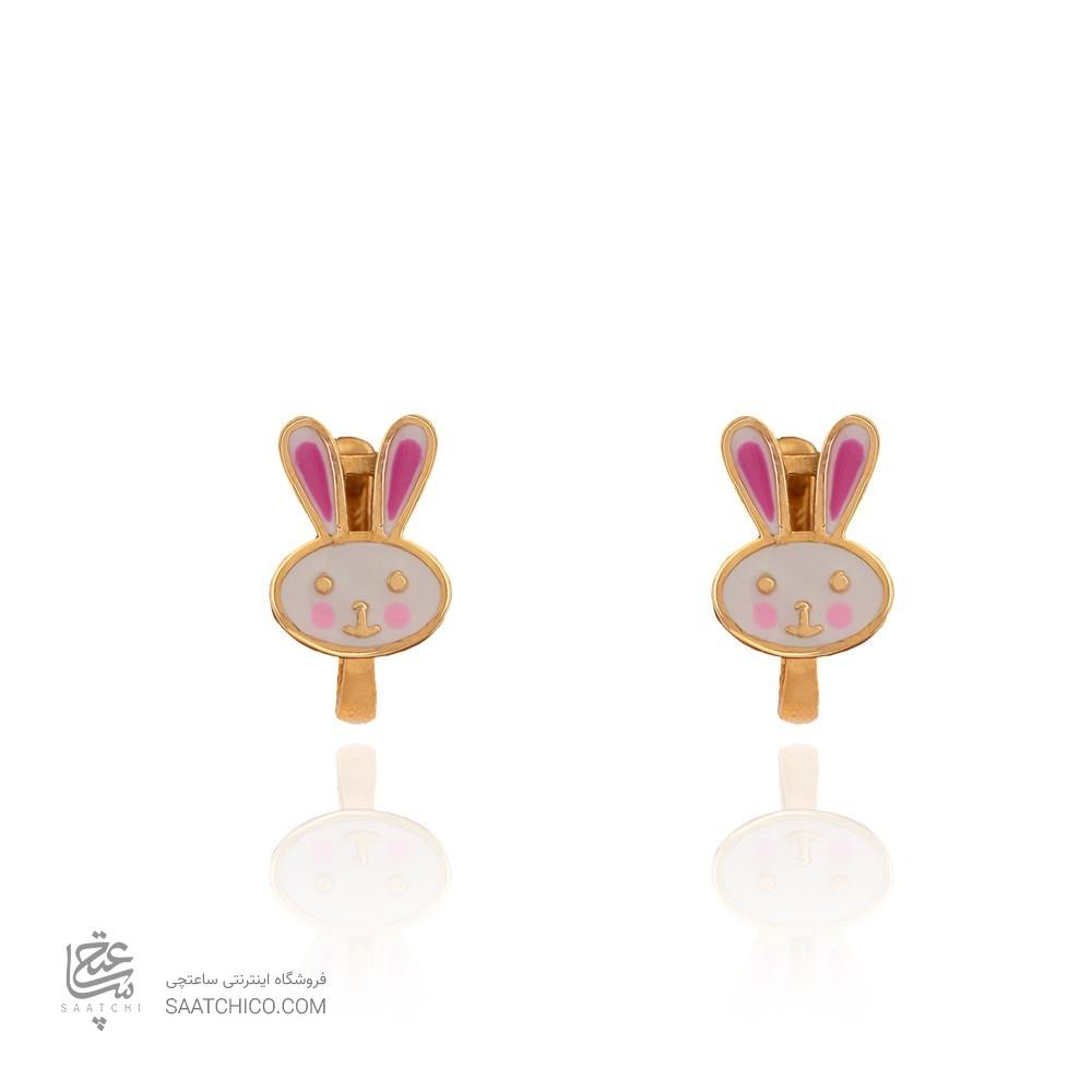 گوشواره طلا کودک طرح خرگوش میناکاری کد KE108