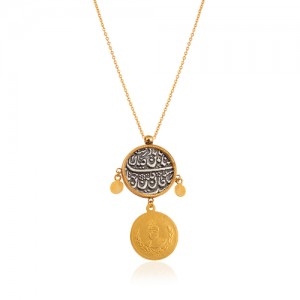 گردنبند طلا زنانه با سکه نقره کد XN401