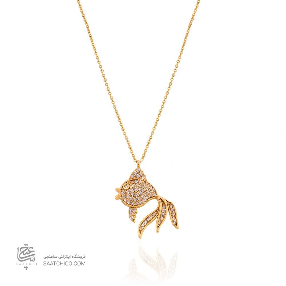 گردنبند طلا زنانه طرح ماهی نگیندار کد CN337