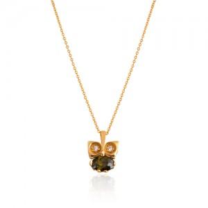 گردنبند طلا زنانه طرح جغد کد CN325