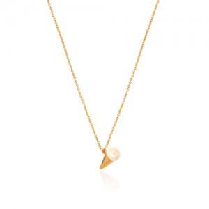 گردنبند طلا زنانه طرح بستنی کد xn106