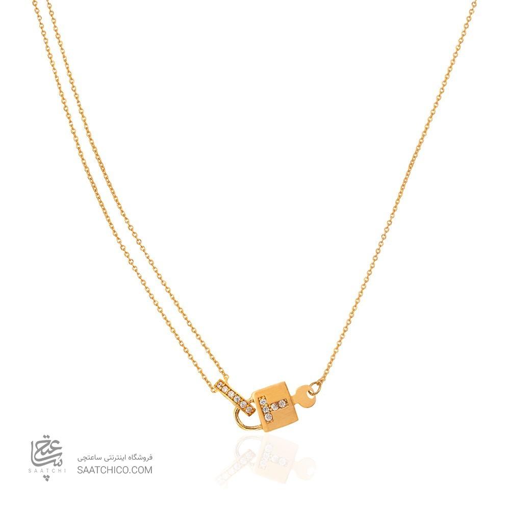 گردنبند طلا زنانه طرح قفل کد CN309